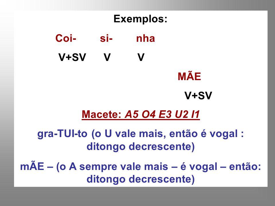 Exemplos: Coi- si- nha V+SV V V MÃE V+SV Macete: A5 O4 E3 U2 I1 gra-TUI-to (o U vale mais, então é vogal : ditongo decrescente) mÃE – (o A sempre vale