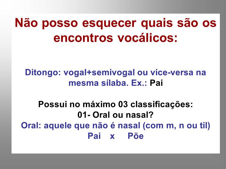 Não posso esquecer quais são os encontros vocálicos: Ditongo: vogal+semivogal ou vice-versa na mesma sílaba. Ex.: Pai Possui no máximo 03 classificaçõ