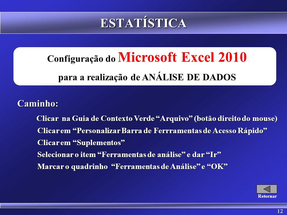 12 ESTATÍSTICA Configuração do Microsoft Excel 2010 para a realização de ANÁLISE DE DADOSCaminho: Clicar na Guia de Contexto Verde Arquivo (botão direito do mouse) Clicar na Guia de Contexto Verde Arquivo (botão direito do mouse) Clicar em Personalizar Barra de Ferrramentas de Acesso Rápido Clicar em Personalizar Barra de Ferrramentas de Acesso Rápido Clicar em Suplementos Clicar em Suplementos Selecionar o item Ferramentas de análise e dar Ir Selecionar o item Ferramentas de análise e dar Ir Marcar o quadrinho Ferramentas de Análise e OK Marcar o quadrinho Ferramentas de Análise e OK Retornar