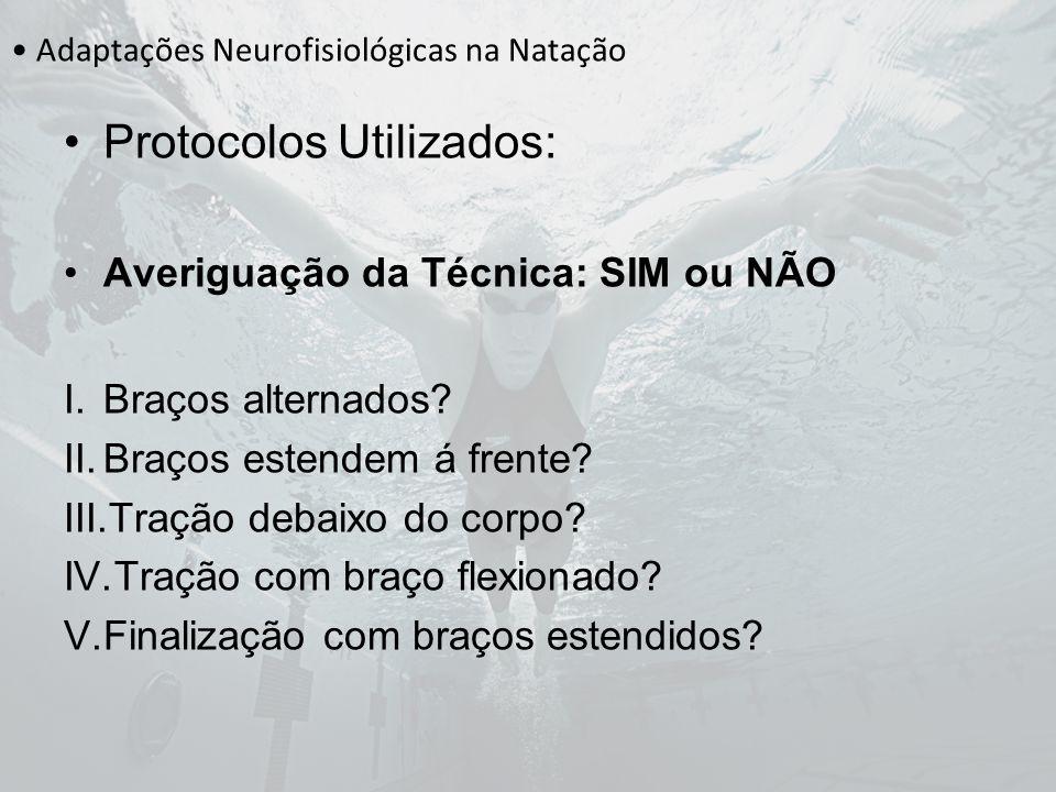 Adaptações Neurofisiológicas na Natação Protocolos Utilizados: Averiguação da Técnica: SIM ou NÃO I.Braços alternados? II.Braços estendem á frente? II