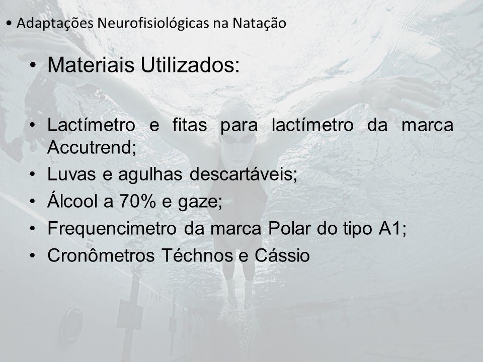Adaptações Neurofisiológicas na Natação Materiais Utilizados: Lactímetro e fitas para lactímetro da marca Accutrend; Luvas e agulhas descartáveis; Álc