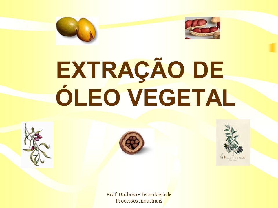Prof. Barbosa - Tecnologia de Processos Industriais EXTRAÇÃO DE ÓLEO VEGETAL