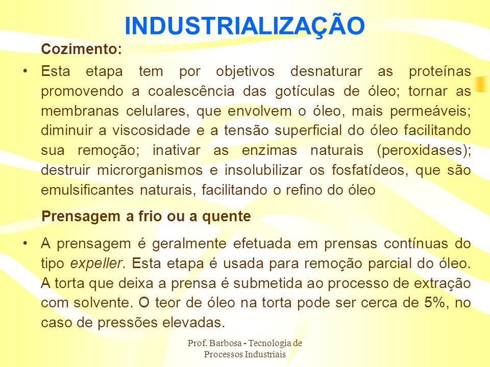 Prof. Barbosa - Tecnologia de Processos Industriais INDUSTRIALIZAÇÃO Cozimento: Esta etapa tem por objetivos desnaturar as proteínas promovendo a coal