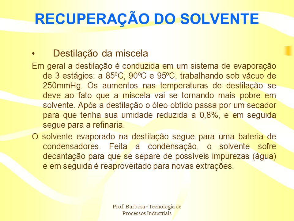 Prof. Barbosa - Tecnologia de Processos Industriais RECUPERAÇÃO DO SOLVENTE Destilação da miscela Em geral a destilação é conduzida em um sistema de e