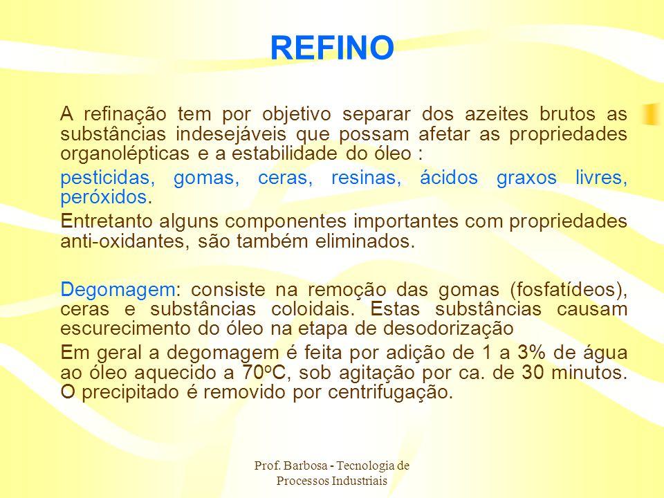 Prof. Barbosa - Tecnologia de Processos Industriais REFINO A refinação tem por objetivo separar dos azeites brutos as substâncias indesejáveis que pos