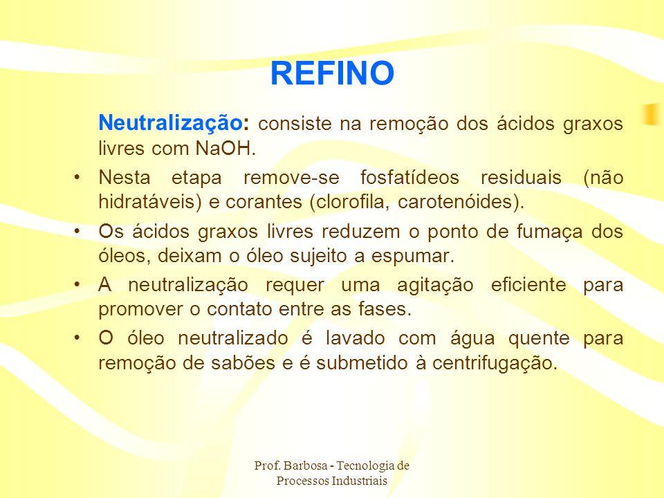 Prof. Barbosa - Tecnologia de Processos Industriais REFINO Neutralização: consiste na remoção dos ácidos graxos livres com NaOH. Nesta etapa remove-se