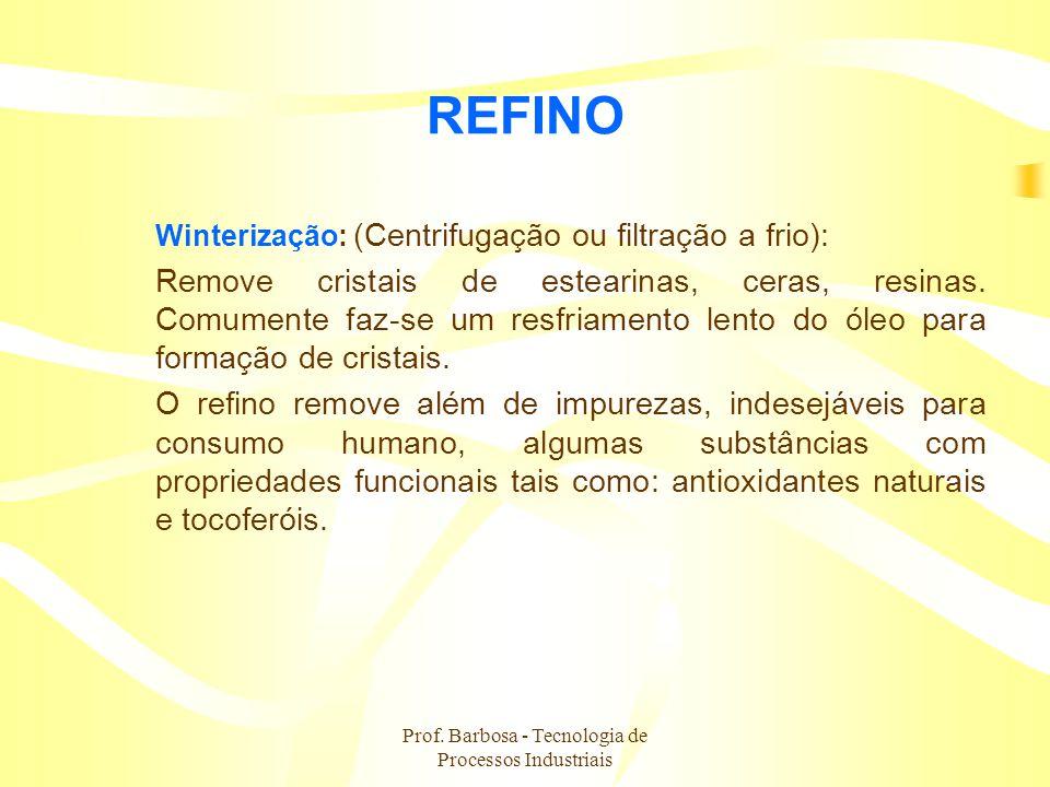 Prof. Barbosa - Tecnologia de Processos Industriais REFINO Winterização: (Centrifugação ou filtração a frio): Remove cristais de estearinas, ceras, re