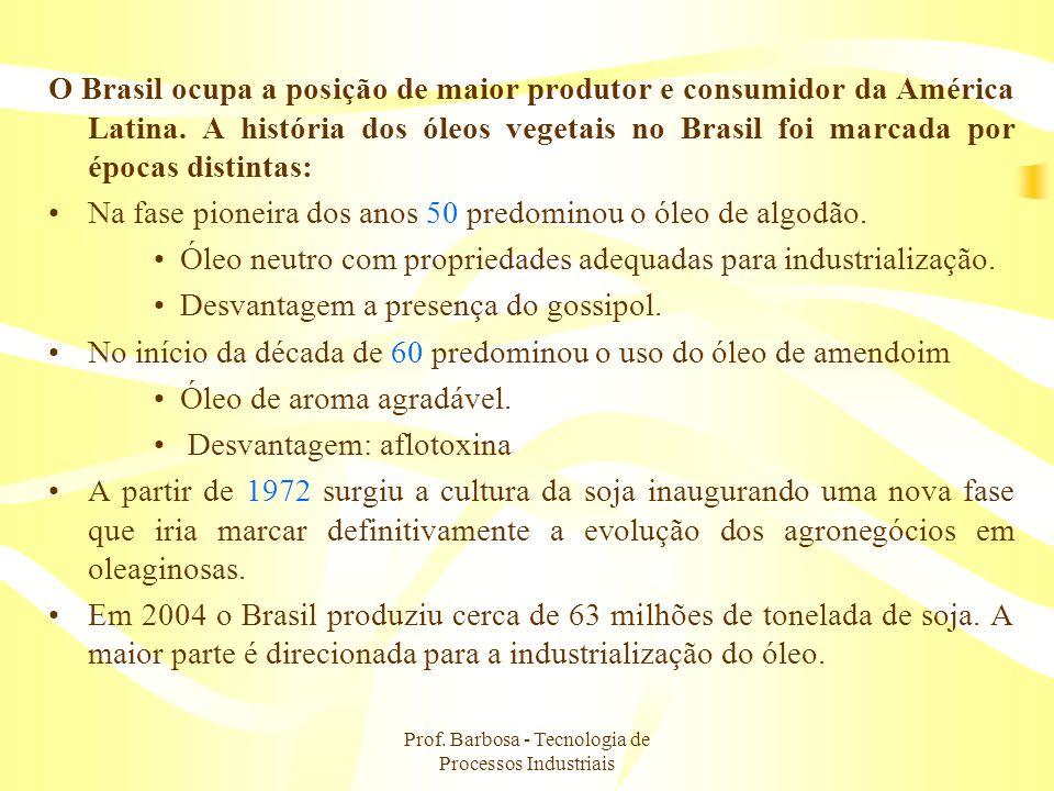 Prof. Barbosa - Tecnologia de Processos Industriais O Brasil ocupa a posição de maior produtor e consumidor da América Latina. A história dos óleos ve