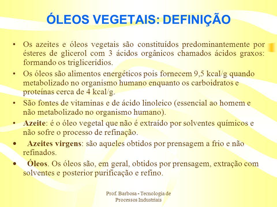Prof. Barbosa - Tecnologia de Processos Industriais ÓLEOS VEGETAIS: DEFINIÇÃO Os azeites e óleos vegetais são constituídos predominantemente por éster