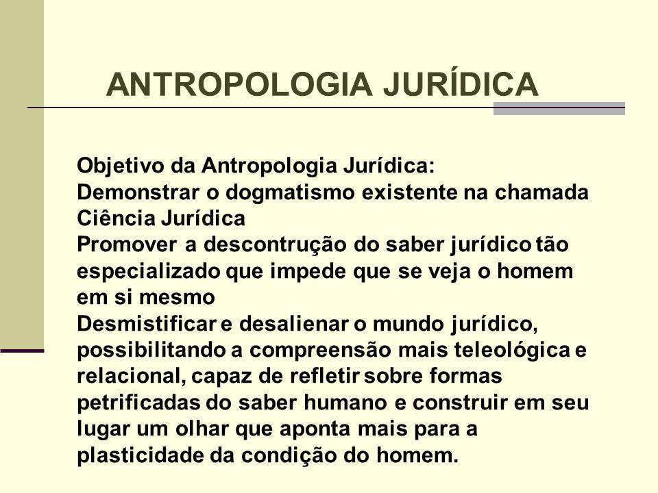 Objetivo da Antropologia Jurídica: Demonstrar o dogmatismo existente na chamada Ciência Jurídica Promover a descontrução do saber jurídico tão especia