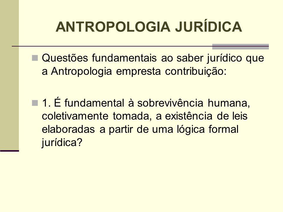 Questões fundamentais ao saber jurídico que a Antropologia empresta contribuição: 1. É fundamental à sobrevivência humana, coletivamente tomada, a exi