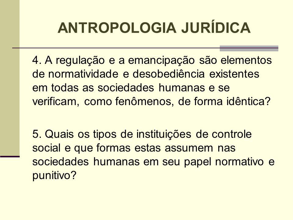 4. A regulação e a emancipação são elementos de normatividade e desobediência existentes em todas as sociedades humanas e se verificam, como fenômenos