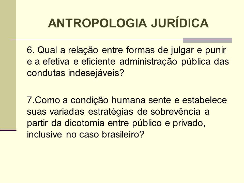6. Qual a relação entre formas de julgar e punir e a efetiva e eficiente administração pública das condutas indesejáveis? 7.Como a condição humana sen