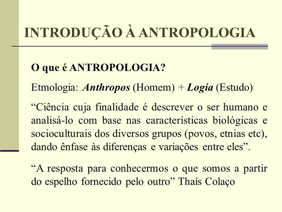 INTRODUÇÃO À ANTROPOLOGIA O que é ANTROPOLOGIA? Etmologia: Anthropos (Homem) + Logia (Estudo) Ciência cuja finalidade é descrever o ser humano e anali