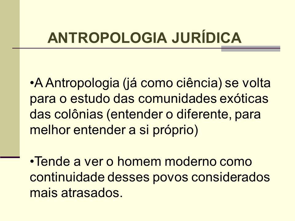 A Antropologia (já como ciência) se volta para o estudo das comunidades exóticas das colônias (entender o diferente, para melhor entender a si próprio