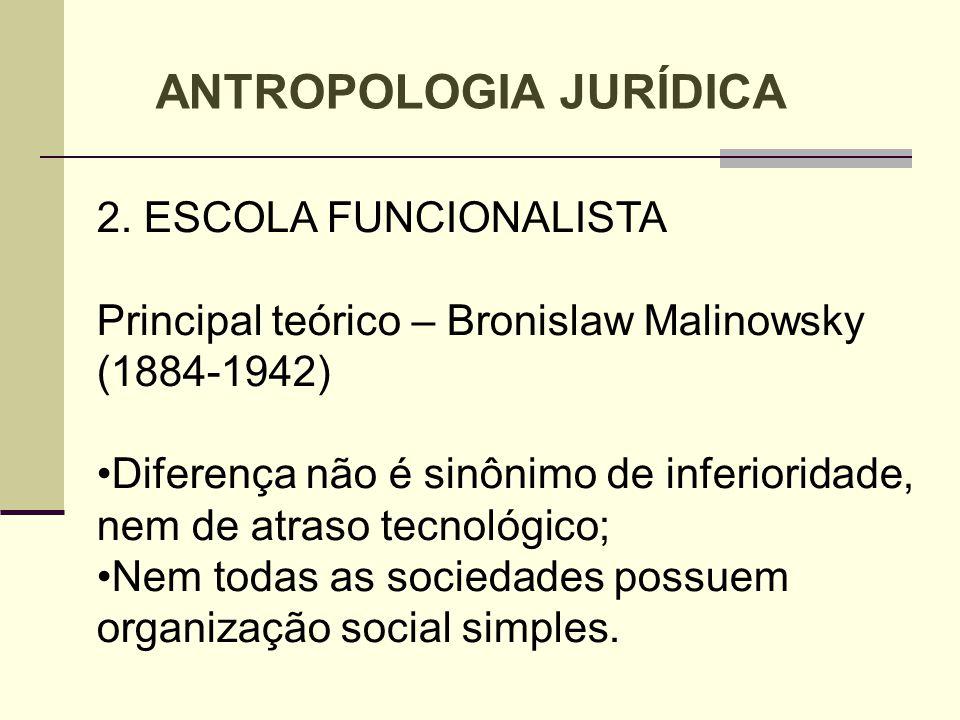 2. ESCOLA FUNCIONALISTA Principal teórico – Bronislaw Malinowsky (1884-1942) Diferença não é sinônimo de inferioridade, nem de atraso tecnológico; Nem