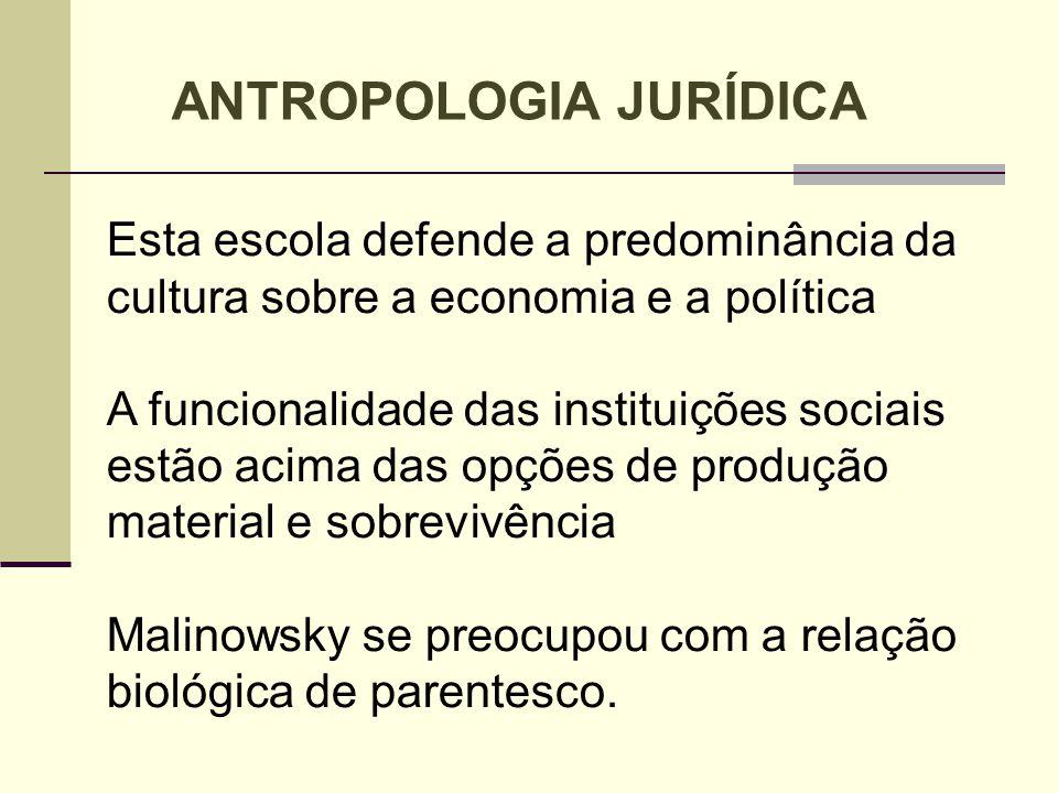 Esta escola defende a predominância da cultura sobre a economia e a política A funcionalidade das instituições sociais estão acima das opções de produ