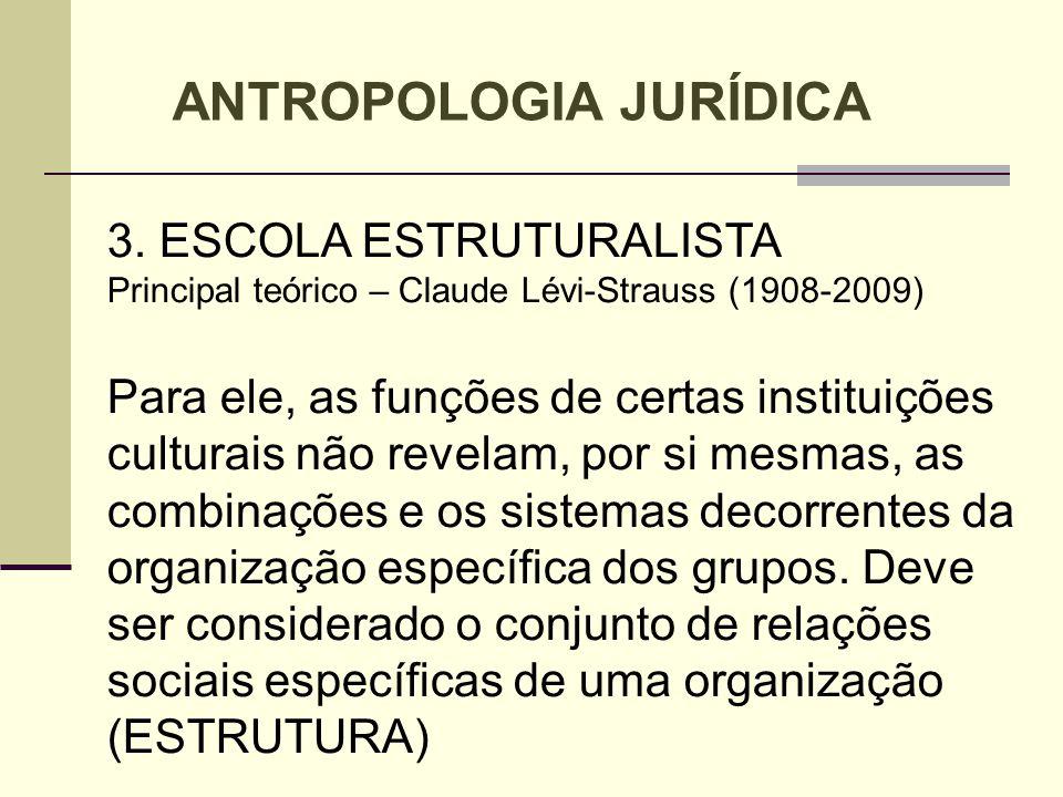 3. ESCOLA ESTRUTURALISTA Principal teórico – Claude Lévi-Strauss (1908-2009) Para ele, as funções de certas instituições culturais não revelam, por si