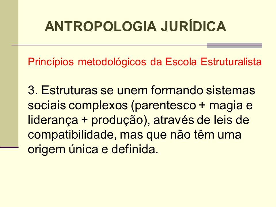 Princípios metodológicos da Escola Estruturalista 3. Estruturas se unem formando sistemas sociais complexos (parentesco + magia e liderança + produção