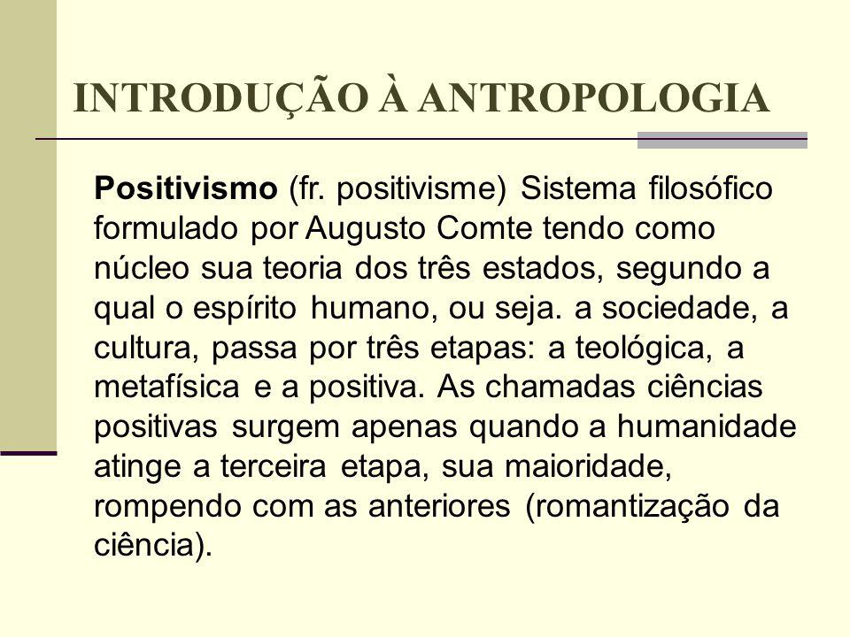 Positivismo (fr. positivisme) Sistema filosófico formulado por Augusto Comte tendo como núcleo sua teoria dos três estados, segundo a qual o espírito