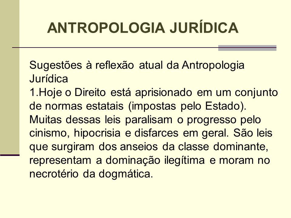 Sugestões à reflexão atual da Antropologia Jurídica 1.Hoje o Direito está aprisionado em um conjunto de normas estatais (impostas pelo Estado). Muitas