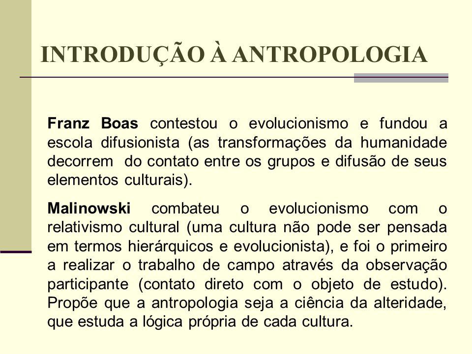 TEMAS: Mundo urbano Conflitos sociais Cultura do cosumo Alienação Suburbio- Periferia Favelas, etc INTRODUÇÃO À ANTROPOLOGIA ANTROPOLOGIA CONTEMPORÂNEA: Alargou o seu objeto de estudo para além do estudo do exótico, distante, intocável ou primitivo.