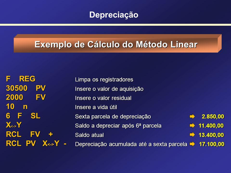 Depreciação Roteiro para o Método Linear 1)Pressionar 2)Digite o valor de aquisição do bem e pressione 2)Digite o valor residual (0 se não houver) e d