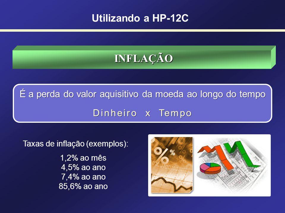 Utilizando a HP-12C DINHEIRO x TEMPO A Matemática Financeira se preocupa com duas variáveis: Dinheiro Tempo