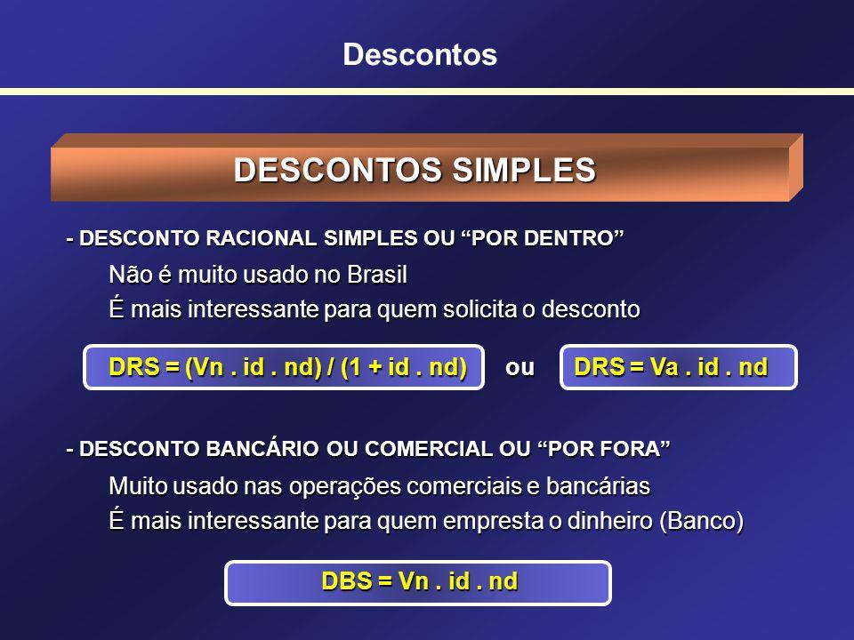 Descontos SIGLAS USADAS EM DESCONTOS DRS = Desconto Racional Simples DBS = Desconto Bancário Simples DRC = Desconto Racional Composto DBC = Desconto B