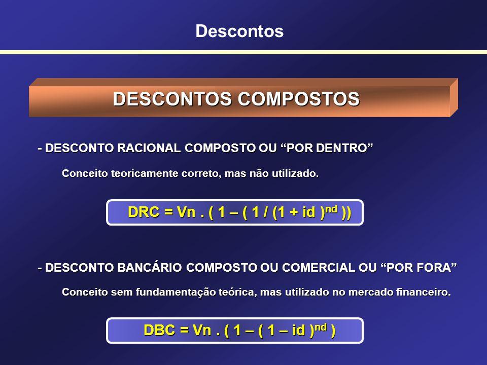 Descontos DESCONTO BANCÁRIO SIMPLES, COMERCIAL OU POR FORA DESCONTO BANCÁRIO SIMPLES, COMERCIAL OU POR FORA Um título de valor nominal de $25.000,00 é