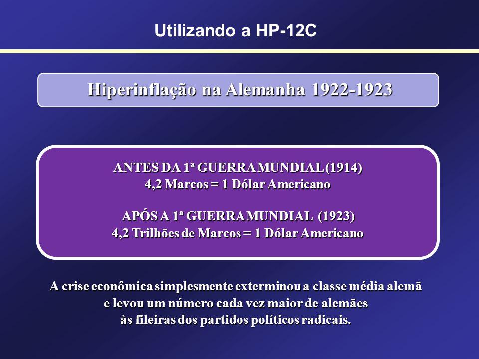 Utilizando a HP-12C Hiperinflação na Alemanha (década de 1920) Um pão custava 1 bilhão de Marcos. Hiperinflação na Alemanha 1922-1923