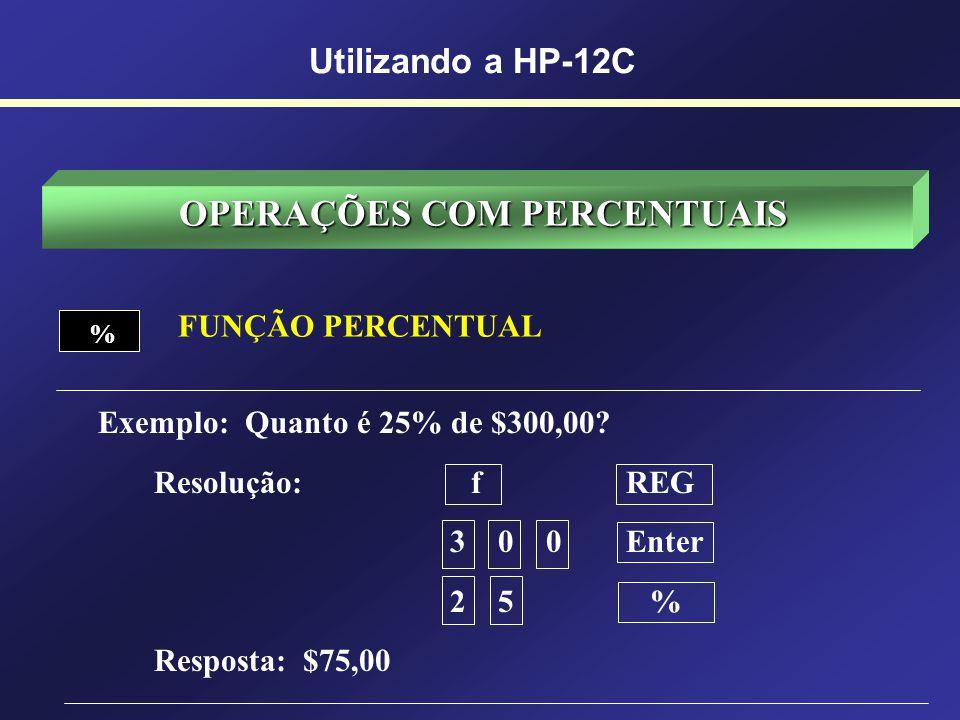 OPERANDO A HP-12C Operações com Percentuais Operações com Datas Operações Matemáticas Operações Financeiras DYSD.MYM.DYDATE % %T YxYx 1/x n i PVPMTFV