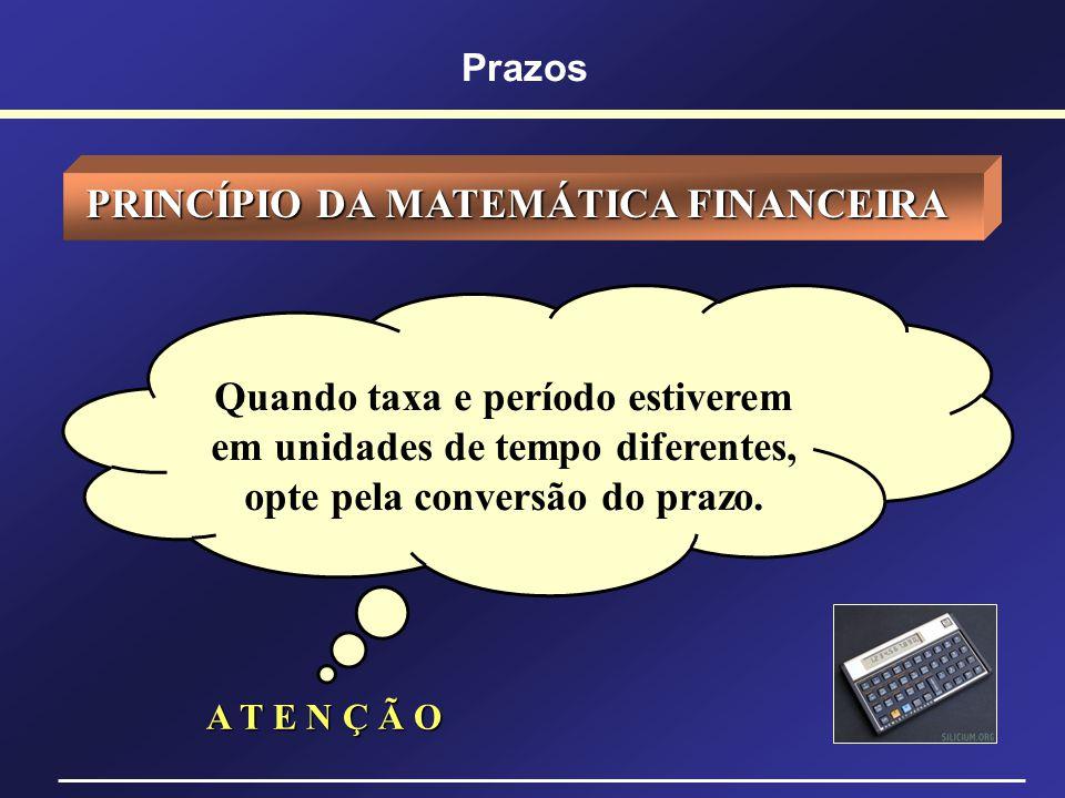 CONVERSÃO DE PRAZOS REGRA GERAL - Primeiro converta o prazo da operação para número de dias; - Primeiro converta o prazo da operação para número de di