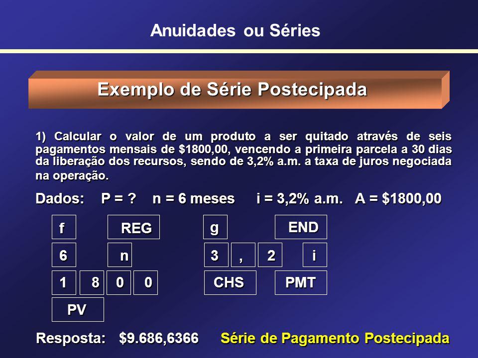 Série de Pagamento Antecipada Cálculo do Valor Presente Meses 0 12345678 $600 i = 3% mês $600 Anuidades ou Séries