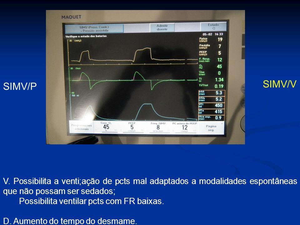 SIMV/P SIMV/V V. Possibilita a venti;ação de pcts mal adaptados a modalidades espontâneas que não possam ser sedados; Possibilita ventilar pcts com FR