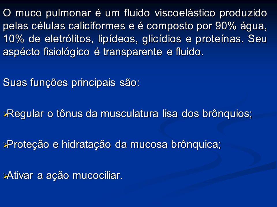 O muco pulmonar é um fluido viscoelástico produzido pelas células caliciformes e é composto por 90% água, 10% de eletrólitos, lipídeos, glicídios e pr
