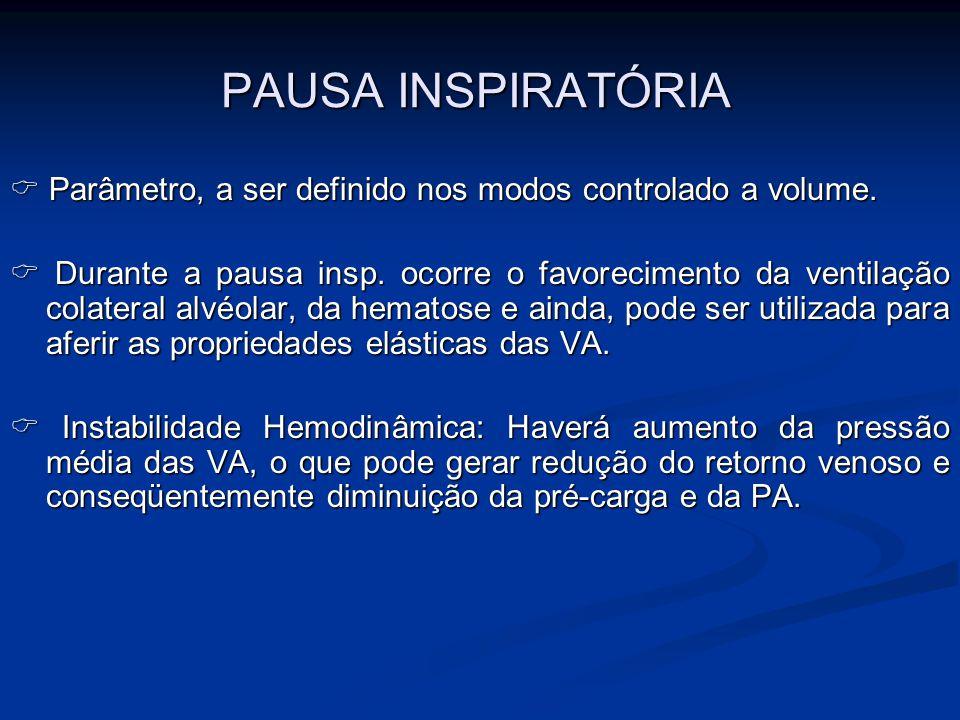 PAUSA INSPIRATÓRIA Parâmetro, a ser definido nos modos controlado a volume. Parâmetro, a ser definido nos modos controlado a volume. Durante a pausa i