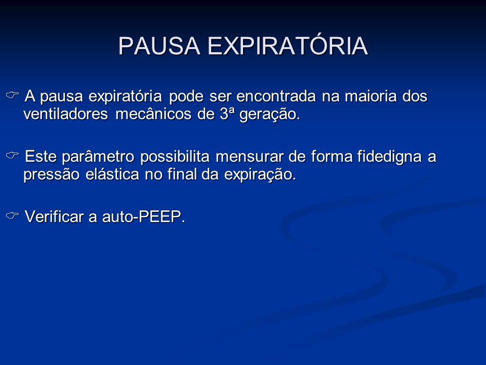 PAUSA EXPIRATÓRIA A pausa expiratória pode ser encontrada na maioria dos ventiladores mecânicos de 3ª geração. A pausa expiratória pode ser encontrada