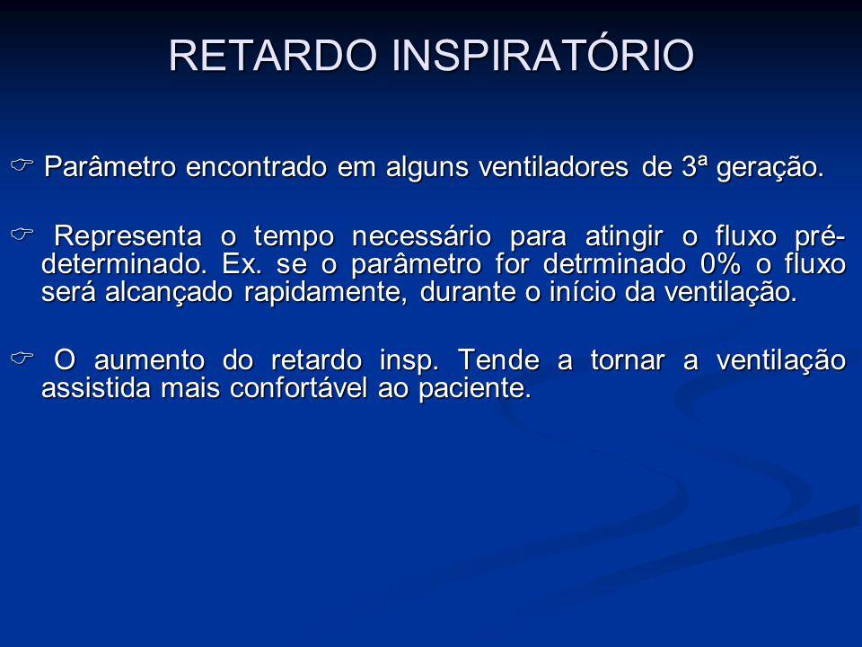 RETARDO INSPIRATÓRIO Parâmetro encontrado em alguns ventiladores de 3ª geração. Parâmetro encontrado em alguns ventiladores de 3ª geração. Representa