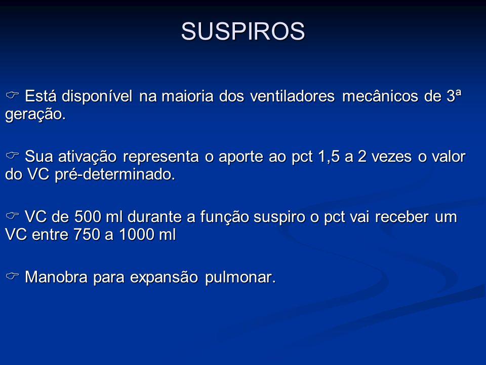 SUSPIROS Está disponível na maioria dos ventiladores mecânicos de 3ª geração. Está disponível na maioria dos ventiladores mecânicos de 3ª geração. Sua