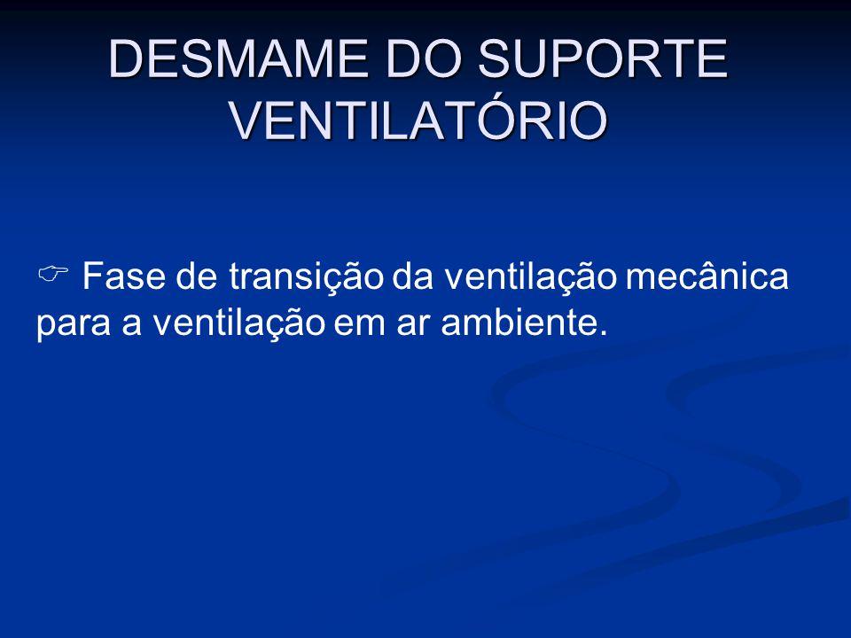DESMAME DO SUPORTE VENTILATÓRIO Fase de transição da ventilação mecânica para a ventilação em ar ambiente.