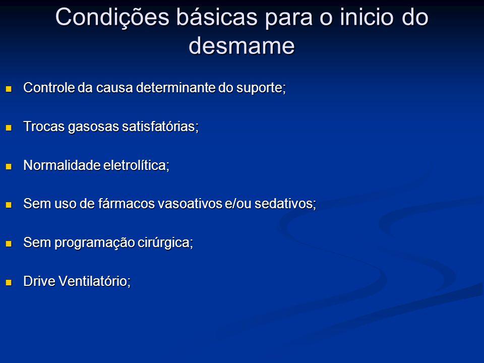 Condições básicas para o inicio do desmame Controle da causa determinante do suporte; Controle da causa determinante do suporte; Trocas gasosas satisf