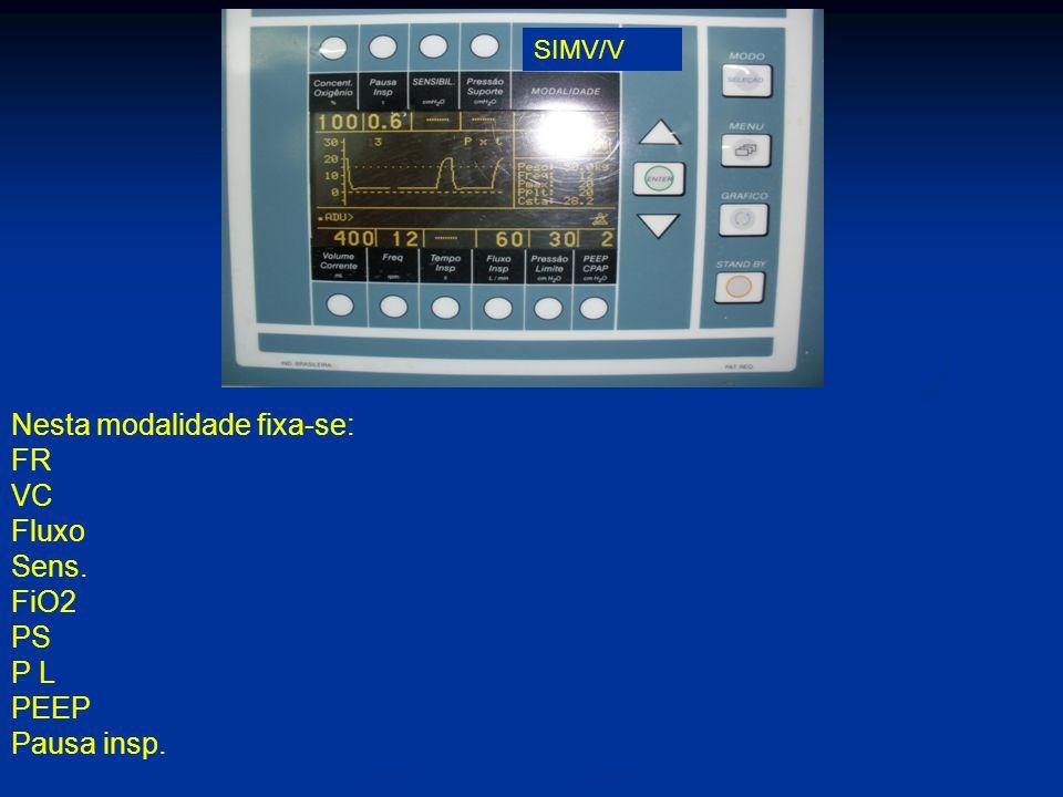 Nesta modalidade fixa-se: FR VC Fluxo Sens. FiO2 PS P L PEEP Pausa insp. SIMV/V