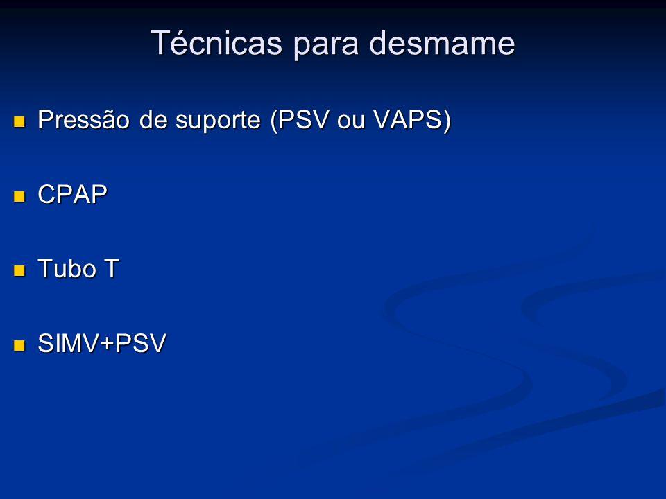 Técnicas para desmame Pressão de suporte (PSV ou VAPS) Pressão de suporte (PSV ou VAPS) CPAP CPAP Tubo T Tubo T SIMV+PSV SIMV+PSV