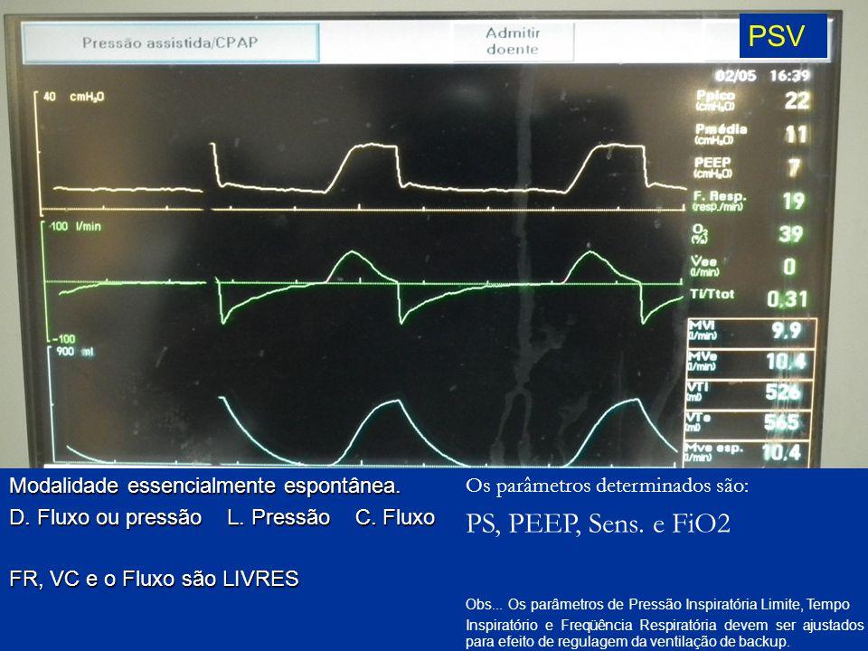 PSV Modalidade essencialmente espontânea. D. Fluxo ou pressão L. Pressão C. Fluxo FR, VC e o Fluxo são LIVRES Os parâmetros determinados são: PS, PEEP