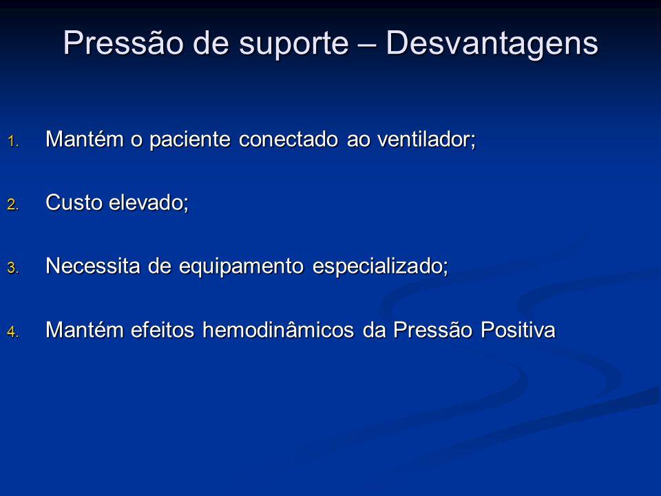 Pressão de suporte – Desvantagens 1. Mantém o paciente conectado ao ventilador; 2. Custo elevado; 3. Necessita de equipamento especializado; 4. Mantém