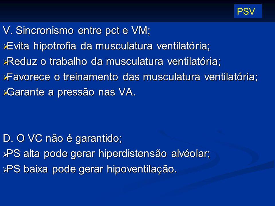 PSV V. Sincronismo entre pct e VM; Evita hipotrofia da musculatura ventilatória; Reduz o trabalho da musculatura ventilatória; Favorece o treinamento