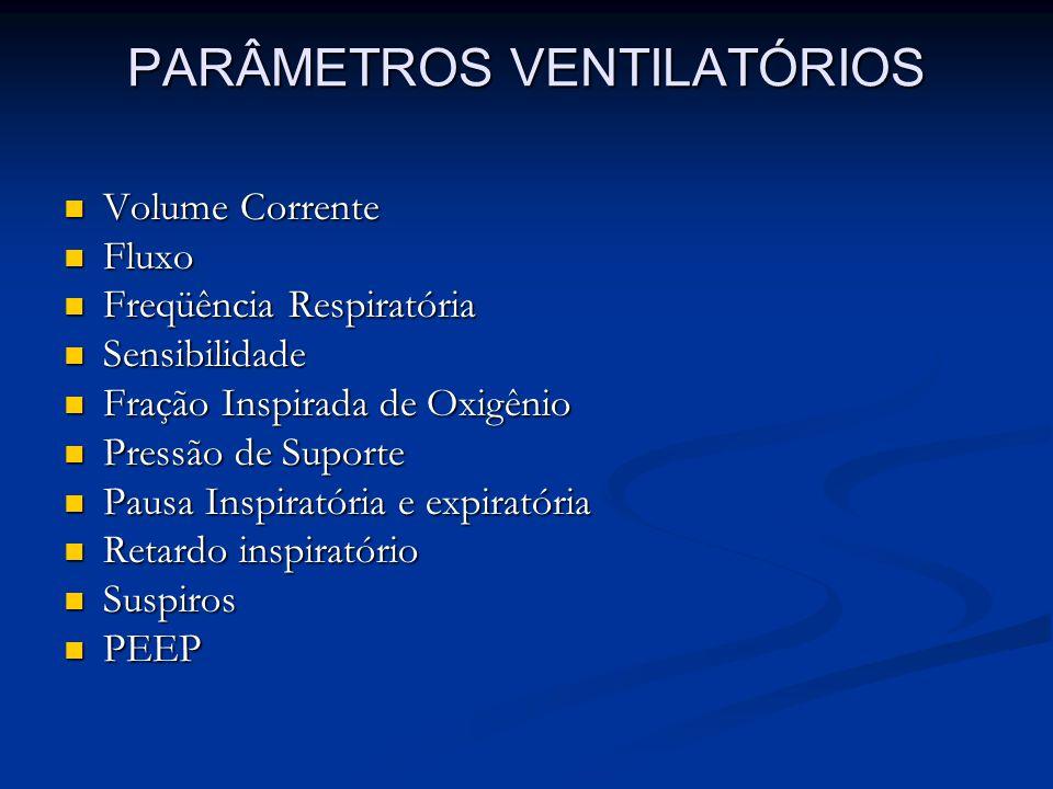 PARÂMETROS VENTILATÓRIOS Volume Corrente Volume Corrente Fluxo Fluxo Freqüência Respiratória Freqüência Respiratória Sensibilidade Sensibilidade Fraçã