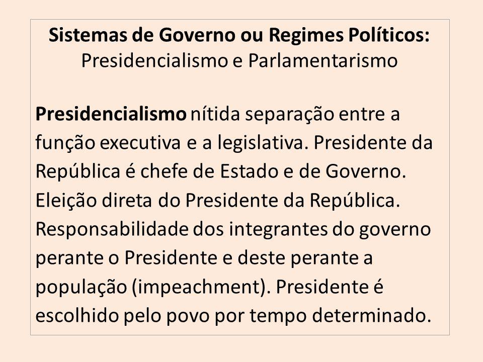 Sistemas de Governo ou Regimes Políticos: Presidencialismo e Parlamentarismo Presidencialismo nítida separação entre a função executiva e a legislativa.