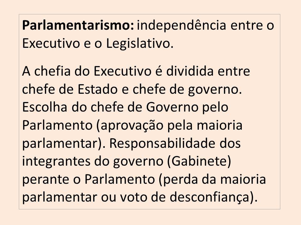 Parlamentarismo: independência entre o Executivo e o Legislativo.